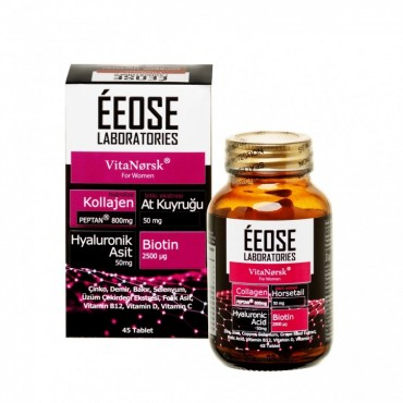 ÉEOSE COLLAGEN TABLET ( Kollajen + Hyaluronik Asit + Atkuyruğu + Biotin + C Vitamini) 45 Tablet